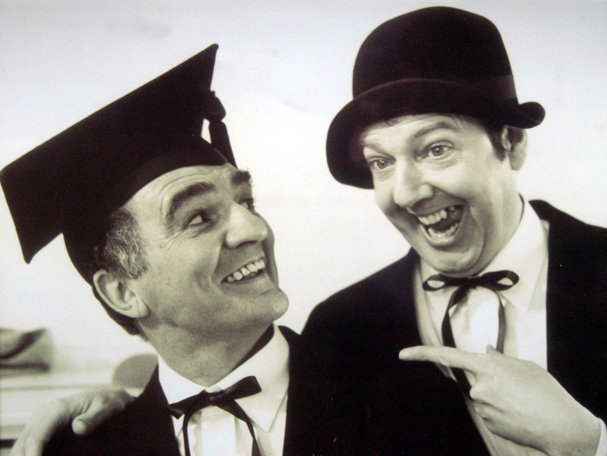 Dudley born comic Billy Dainty with Jimmy Cricket pictured circa 1984 when they were both in the TV series '....and there's more'