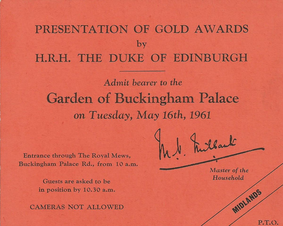 A treasured invitation to Buckingham Palace.