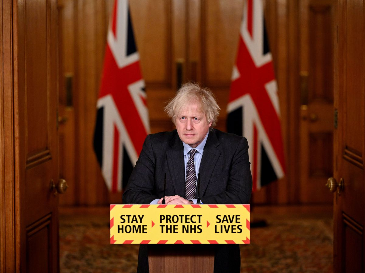 Boris Johnson at a press briefing