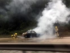 Delays after car blaze on M54