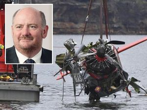 Richard Cousins, inset, and wreckage from the crash