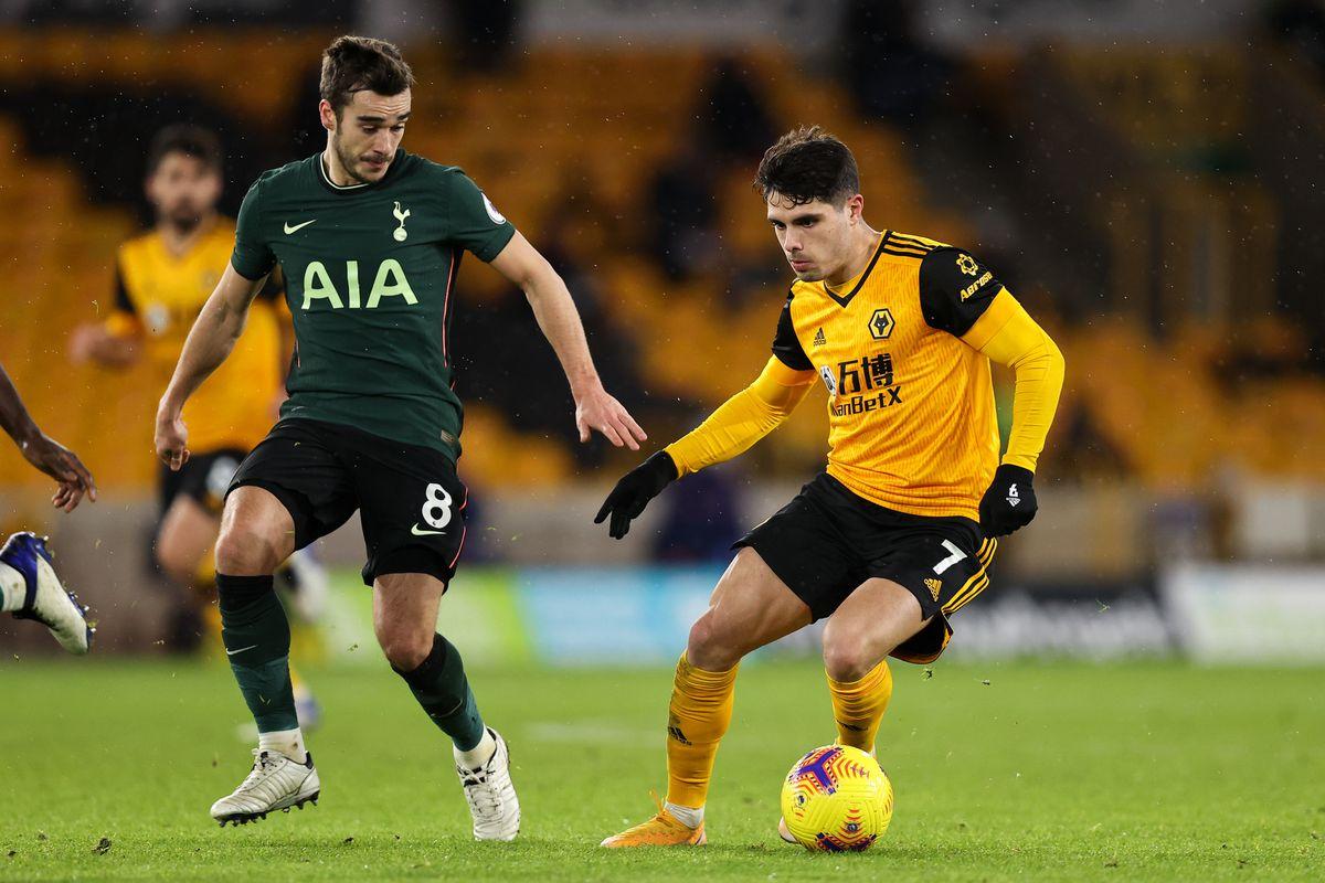 Harry Winks of Tottenham Hotspur and Pedro Neto of Wolverhampton Wanderers (AMA)