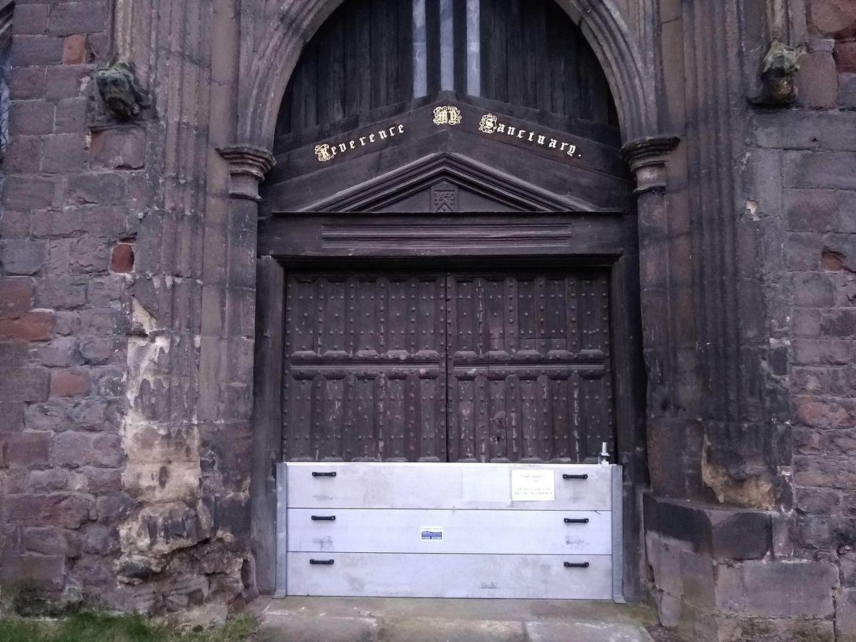 Flood defences at The Abbey in Shrewsbury