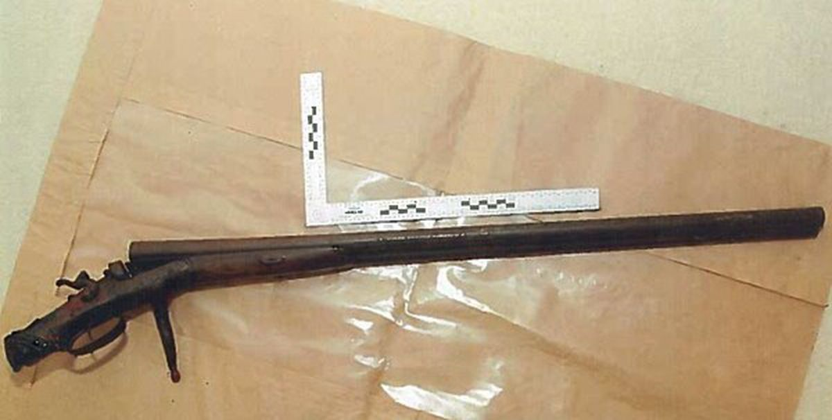 The old shotgun used by Andrew Hooper