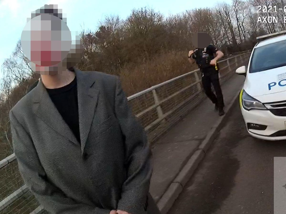 Handout still from police body worn video issued by Kent Police showing a photoshoot for social media which sparked an emergency police response
