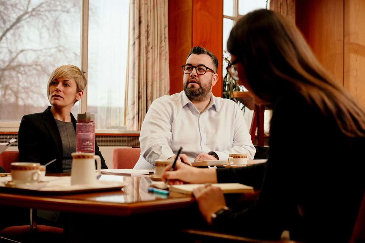 The Cash For Your Community judging panel at work: Hayley Oakley of Enterprise Flex-E-Rent, with Sam Williams and Natalie Coughlan of the Shropshire Star