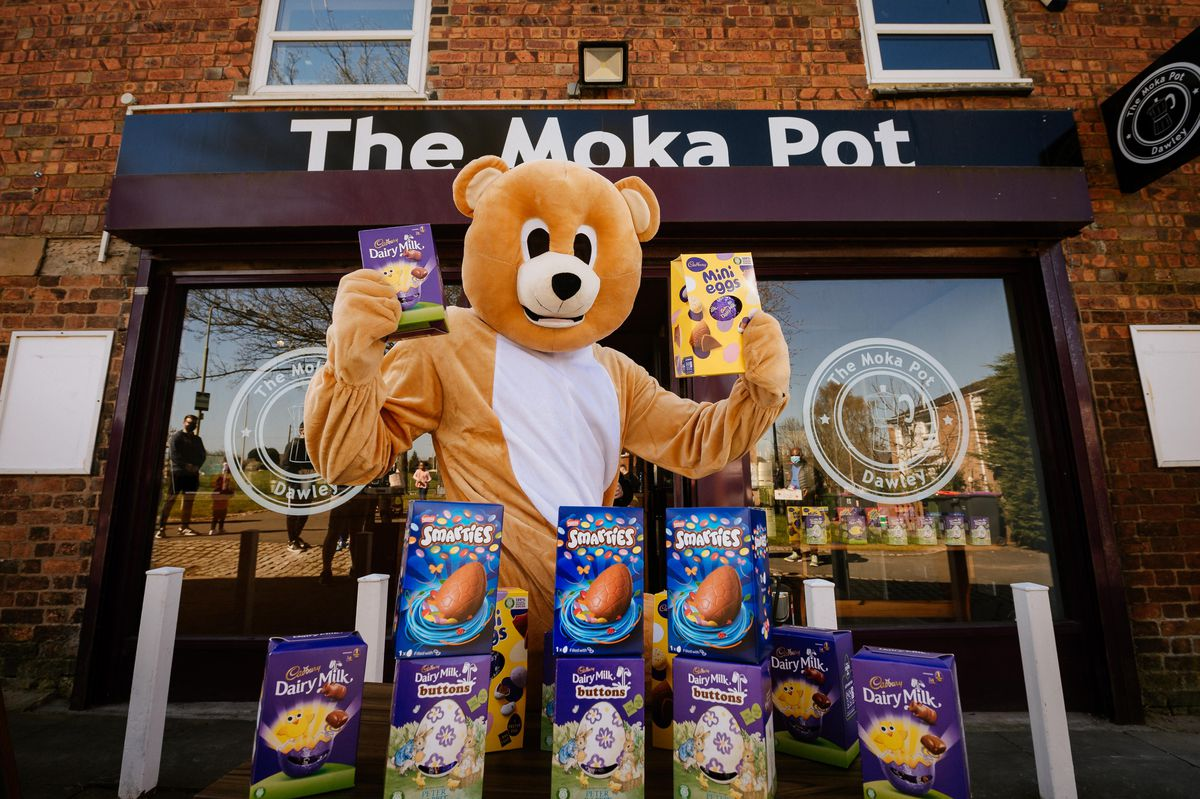 The friendly bear giving away Easter eggs to Telford children