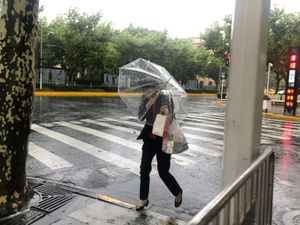 A woman braves high winds