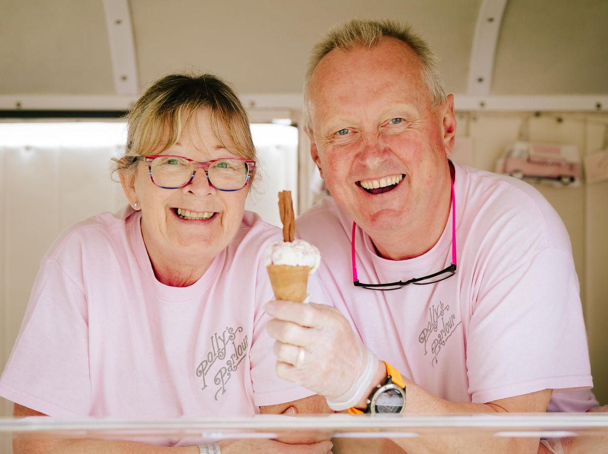 Sally Eastwood and Mark Fleming from Polly's Parlour Ice Cream