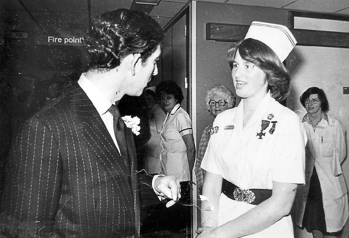 Charles chats to Staff Nurse Lynne Breakell at Royal Shrewsbury Hospital in 1978