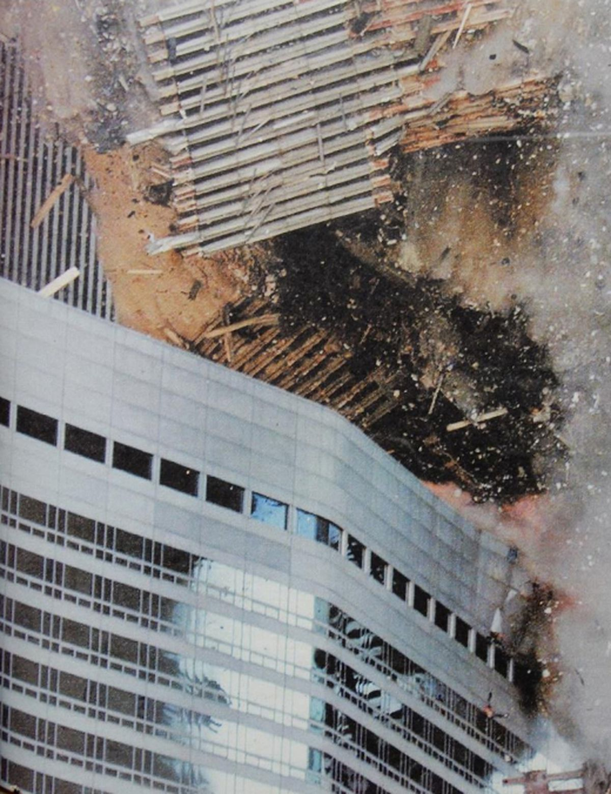9.58am, September 11, 2001, and the South Tower collapses onto the Marriott Hotel – the top windows lit the rooftop swimming pool where Orleana Cattell had enjoyed one last swim before leaving New York not long beforehand.