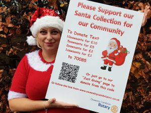 Nadia Dimitrova one of Santa's helpers with text numbers to donate to the Rotary Club