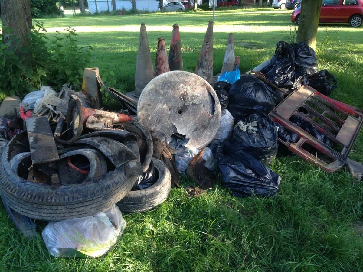 Rubbish gathered from the River Severn in Bridgnorth