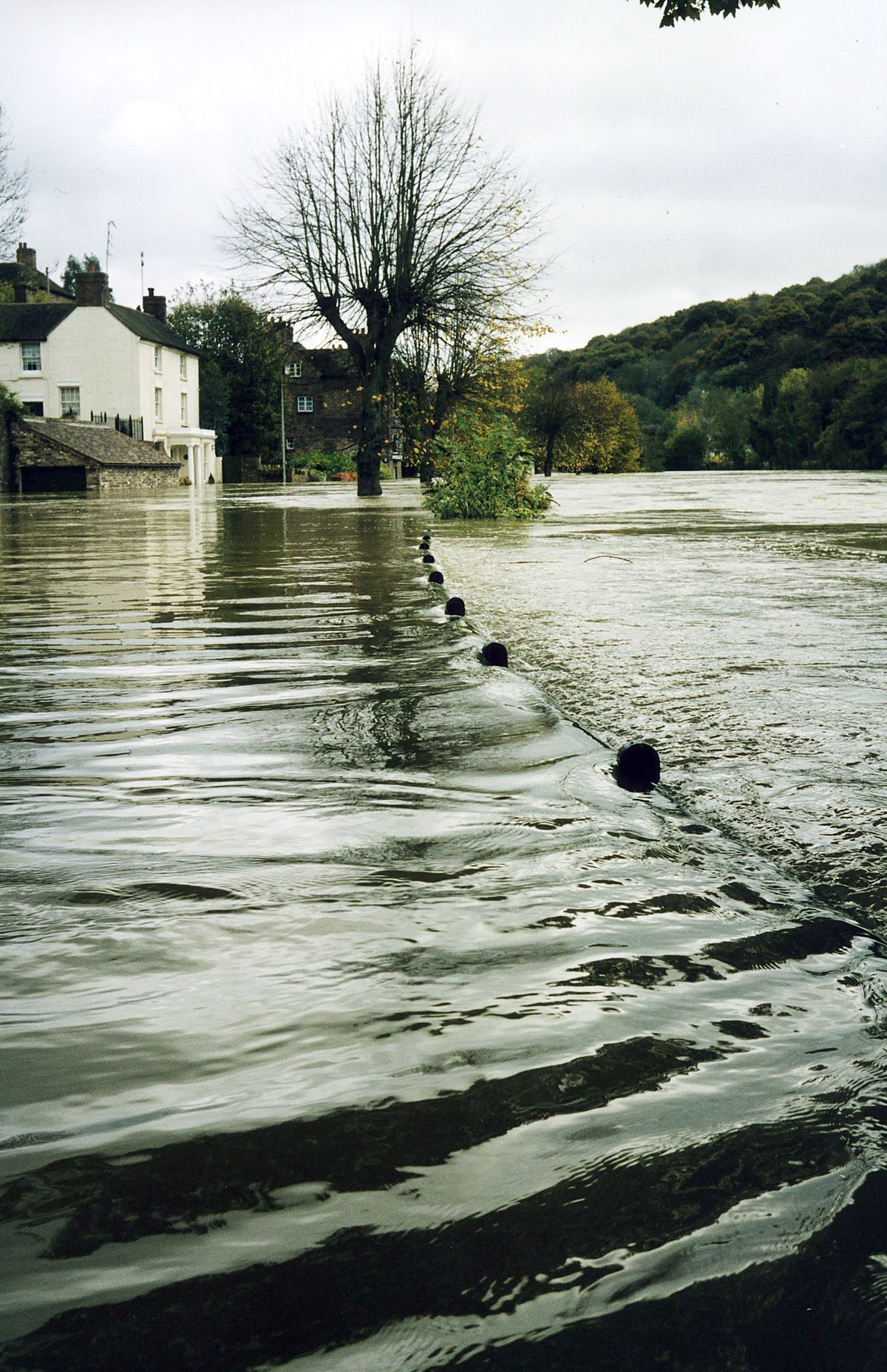 The Wharfage in Ironbridge during the floods in 2000 before defences were installed. This picture was taken by reader Richard Starr