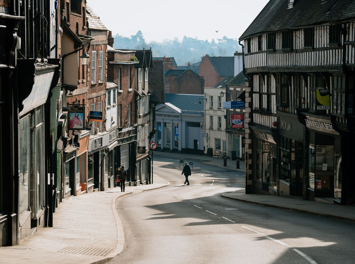 A quiet Shrewsbury town centre during the first coronavirus lockdown in March