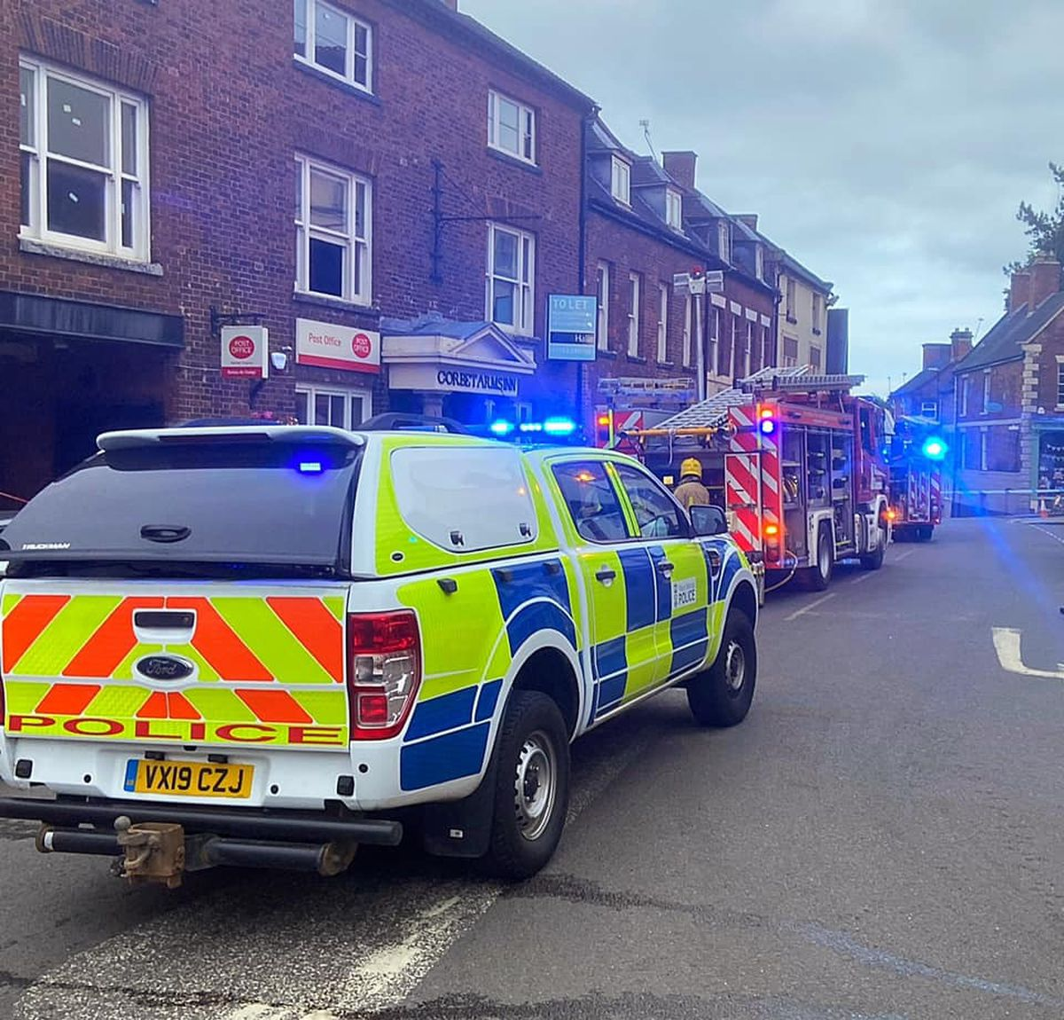 Emergency services on site.  Photo: Market Drayton Fire Station