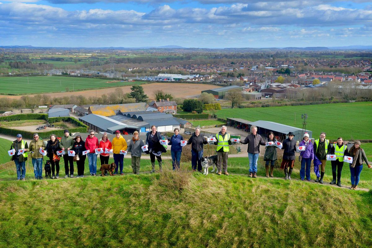 Looking back towards Oswestry from the hillfort during the recent event