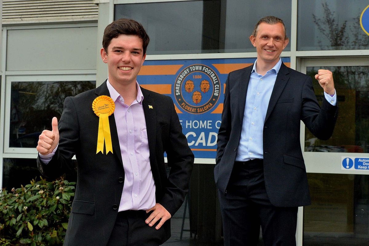 Rob Wilson, right, celebrates with fellow Lib Dem and newly-elected councillor Alex Wagner