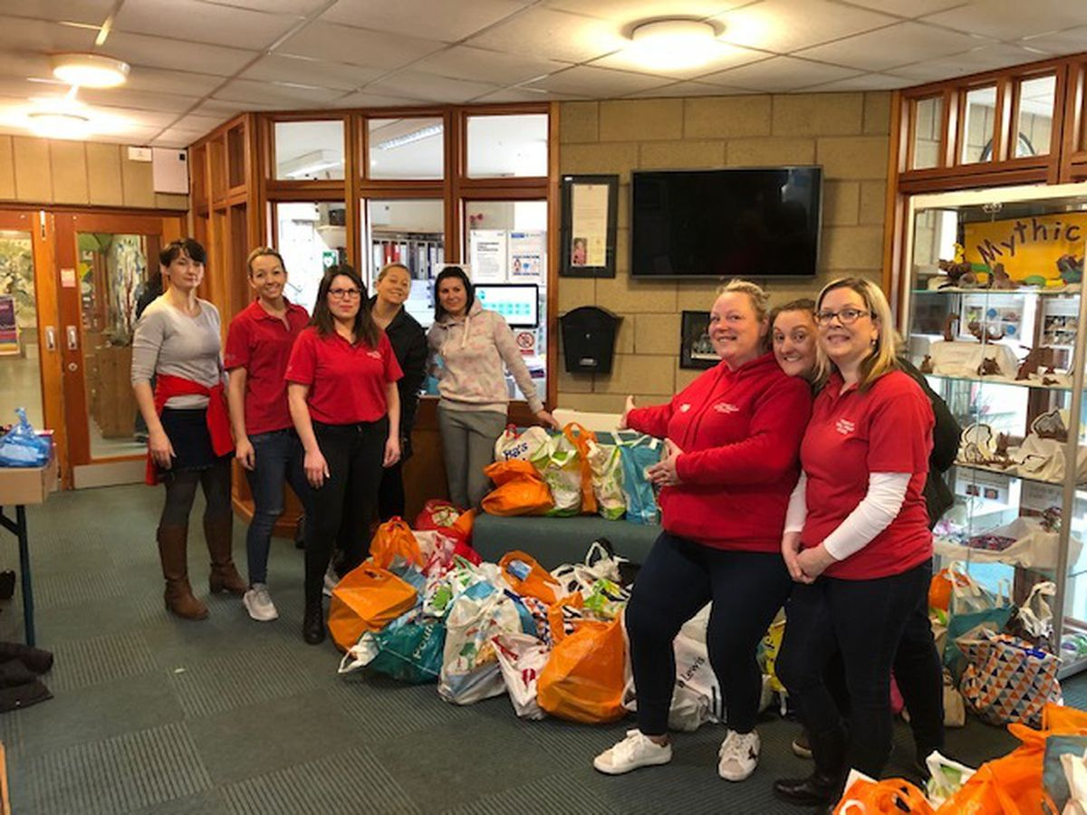 Volunteers Pru McCarney, Leanne Bailey, Catherine Boya Heyes, Louise Langley, Claire Bennett, Grace Hill, Charity King and Alexy Finch at the school