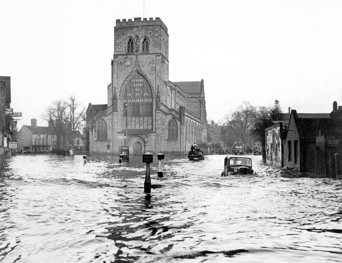 This scene of floods outside The Abbey in Shrewsbury is believed to be from 1947