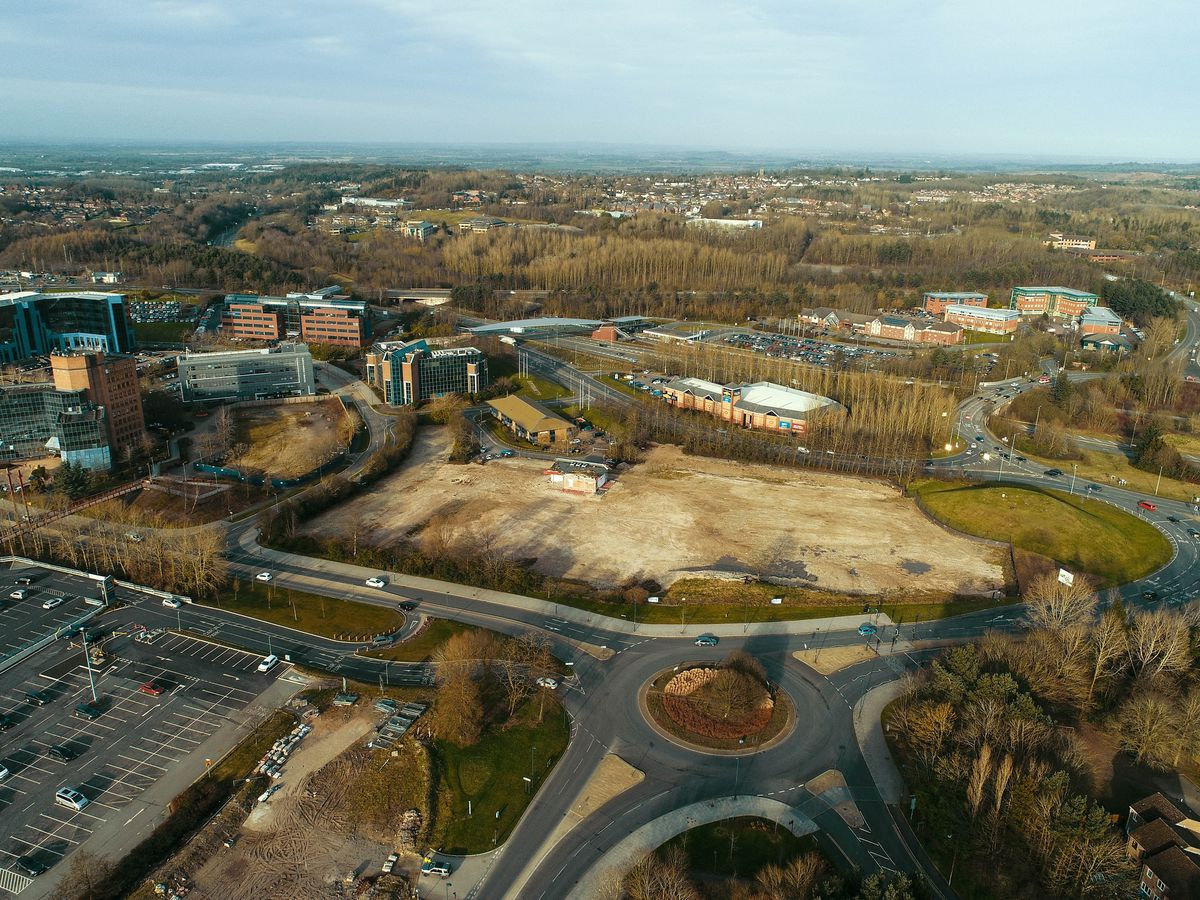 Aerial view of Telford's Station Quarter