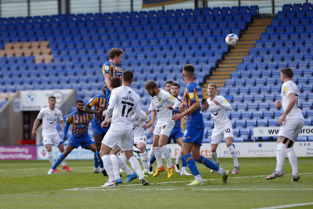 Matthew Pennington of Shrewsbury Town scores a goal to make it 1-1. (AMA)