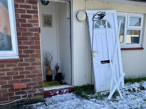 Police smashed through the front door during the raid. Picture: Shrewsbury Police