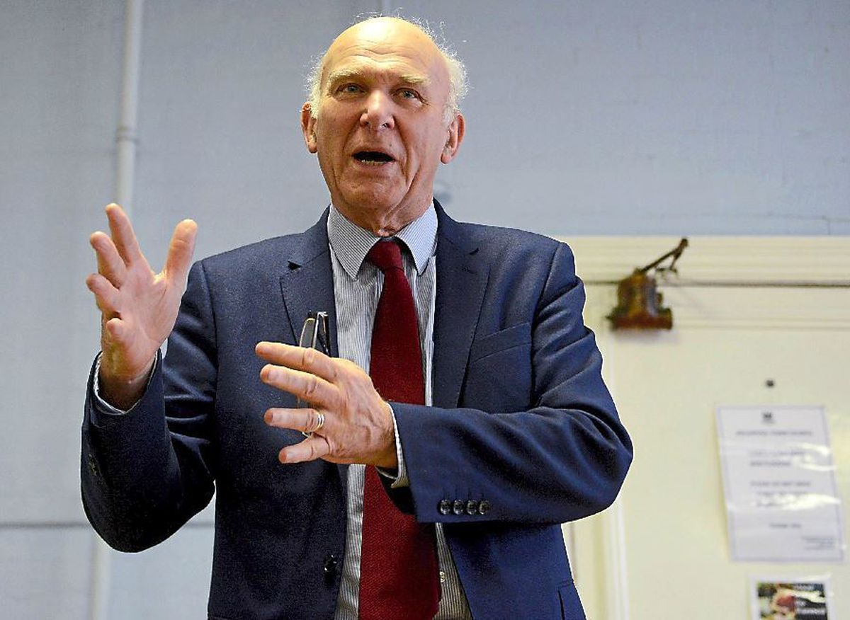 Liberal Democrat leader Sir Vince Cable speaking at Welshpool Town Hall on Saturday afternoon as guest of the Welsh Lib Dems