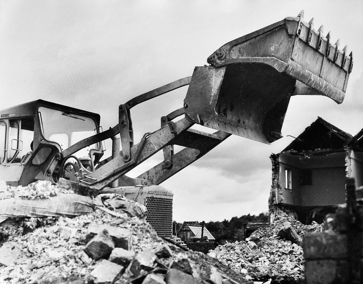 The bulldozers move in. For some older folk this was the quintessential image of the new town taking shape around them.