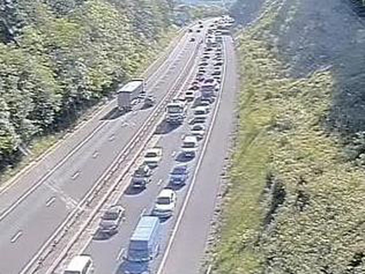 Traffic queueing on the M54 on Wednesday morning. Photo: Traffic England