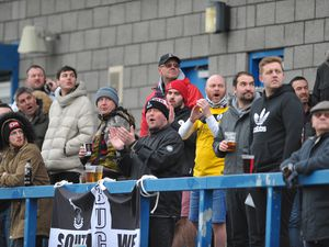 TELFORD COPYRIGHT MIKE SHERIDAN Telford fans  during the Vanarama Conference North fixture between AFC Telford United and Kettering at The New Bucks Head on Saturday, March 14, 2020...Picture credit: Mike Sheridan/Ultrapress..MS201920-050.