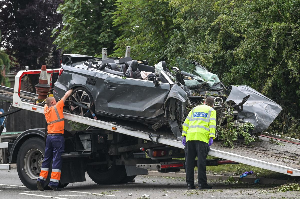 The convertible Audi was recovered with branches and leaves stuck in it. Photo: SnapperSK