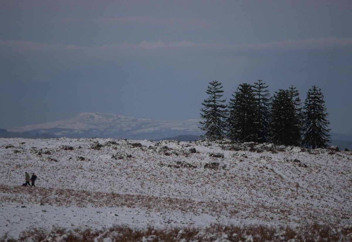 Snow on Clee Hill, viewed from 25 miles away on Hergest Ridge near Kington. Photo: Andy Compton