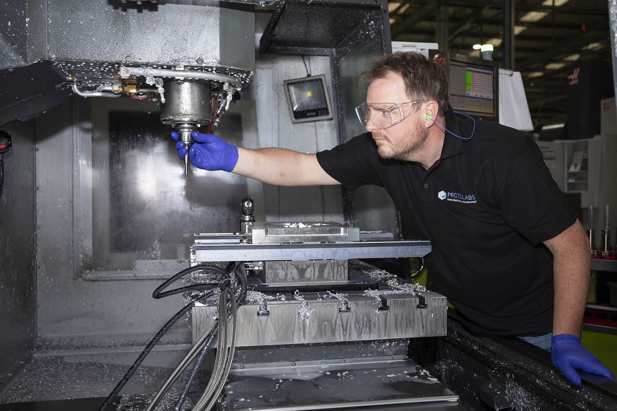 CNC milling machine in use at Telford-based Protolabs