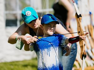 Jenson Holgate, seven, of Ruabon getting to grips with archery