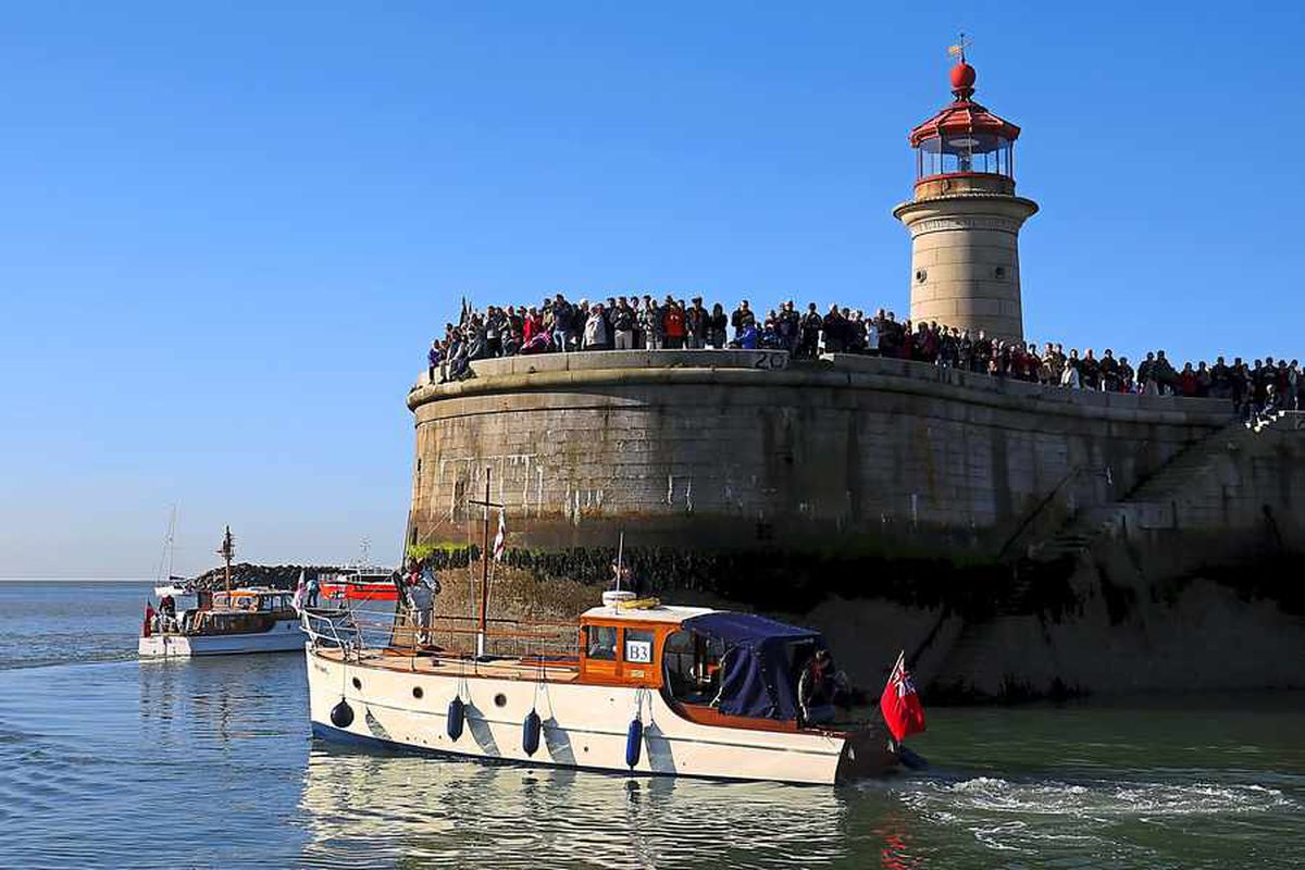 Crowds wave off the flotilla of Little Ships as they head for France for the 75th anniversary of Operation Dynamo