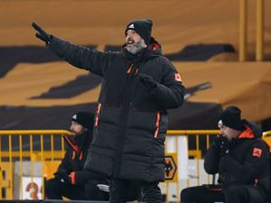 "Wolverhampton Wanderers manager Nuno Espirito Santo gestures on the touchline during the Premier League match at Molineux Stadium, Wolverhampton. PA Photo. Picture date: Tuesday January 12, 2021. See PA story SOCCER Wolves. Photo credit should read: Tim Keeton/PA Wire. RESTRICTIONS: EDITORIAL USE ONLY No use with unauthorised audio, video, data, fixture lists, club/league logos or ""live"" services. Online in-match use limited to 120 images, no video emulation. No use in betting, games or single club/league/player publications."