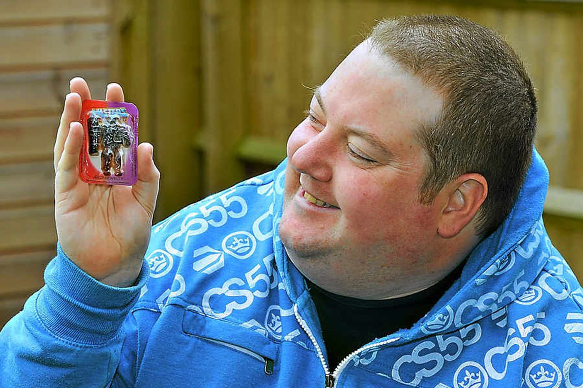 Gavin Chilstone, of Shreswbury, with the 30-year-old He-man jelly sweet he found in a box of action figures