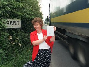 Dilys Gaskill from Llanymynech and Pant Parish Council is seen with the village questionnaire asking about traffic in 1998