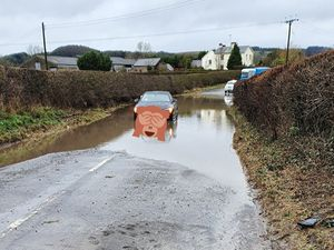 Car stuck in water near Clun. Picture: @SouthShropCops