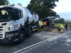 Serious crash involving milk tanker closes north Shropshire road