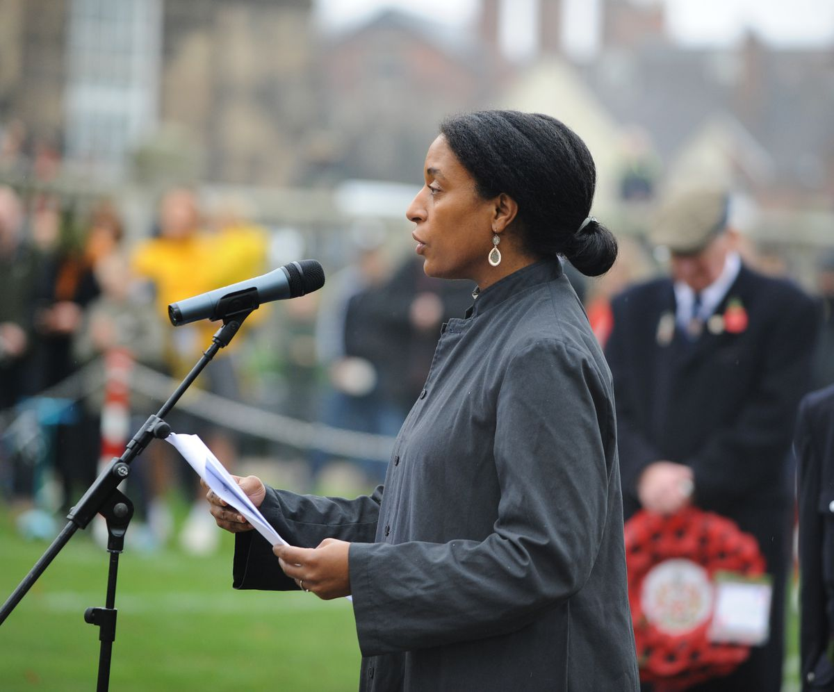 Reverend Mother Yejide Peters, of St Chad's Church, leads the commitment to peace prayer
