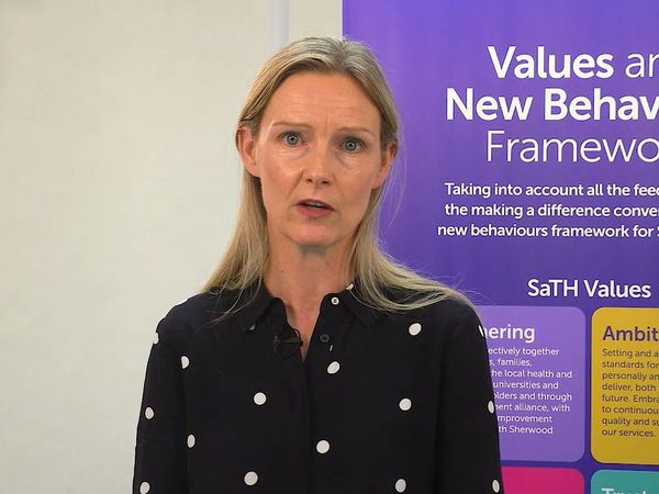 Louise Barnett, SaTH's chief executive, speaking during the trust's AGM