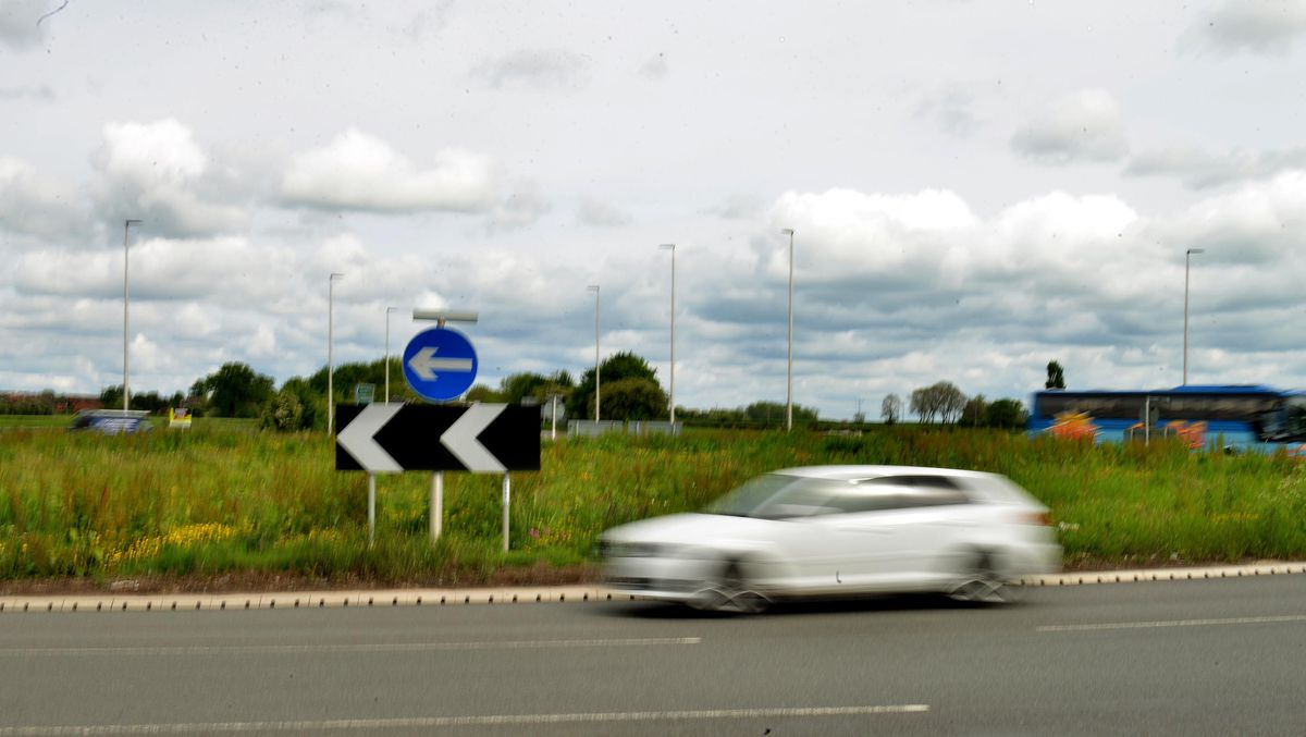 Mile End Roundabout in Oswestry.