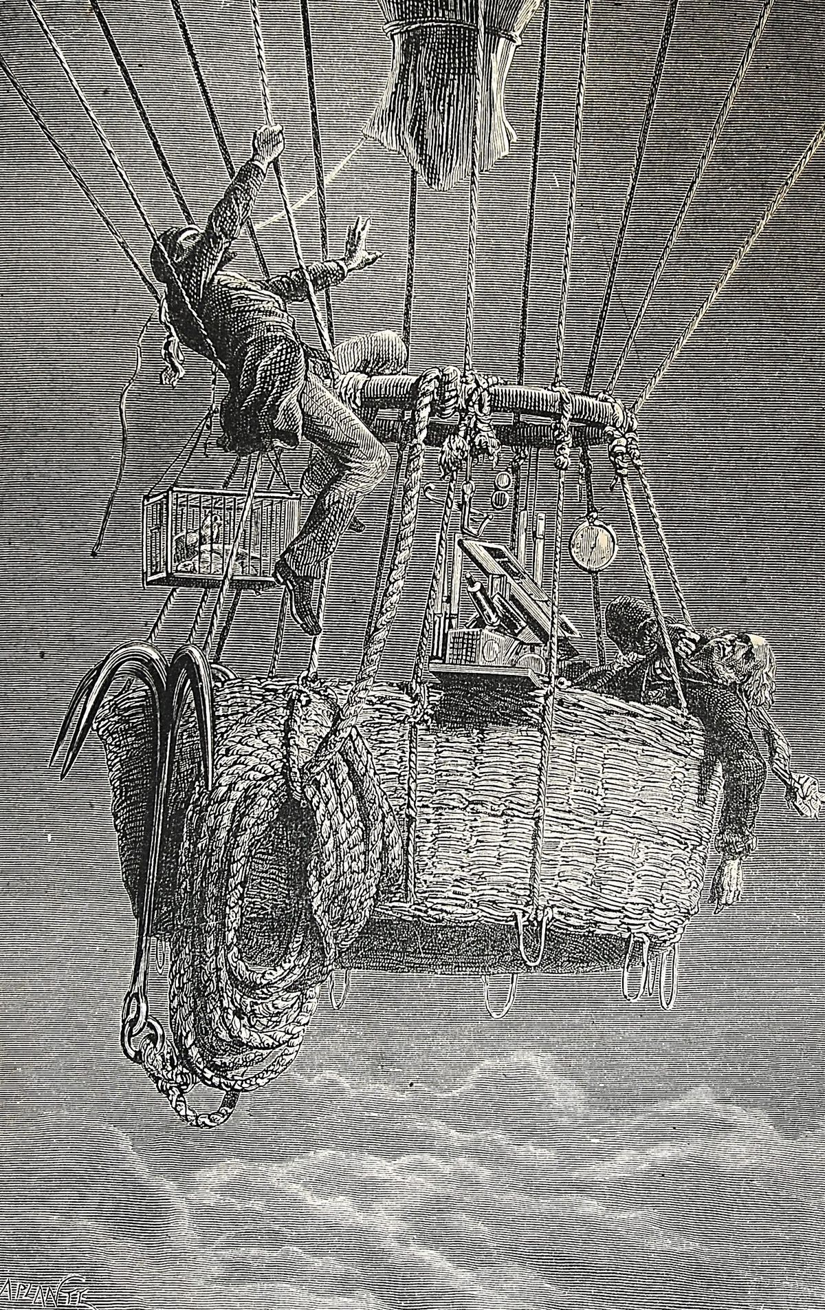 An illustration of Henry Coxwell and James Glaisher