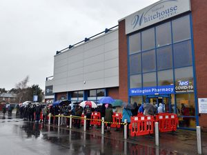 Queues formed outside the New Bucks Head stadium in Wellington which opened as a vaccination centre yesterday