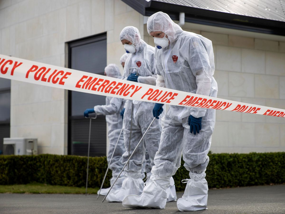 Forensic officers at the scene