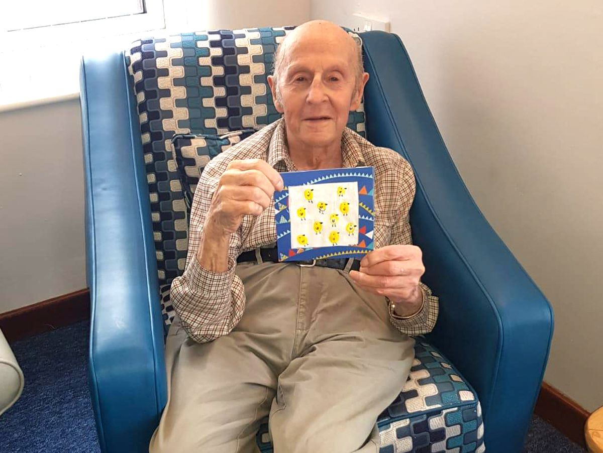 George, from Doddington Lodge care home, has been reading messages of support