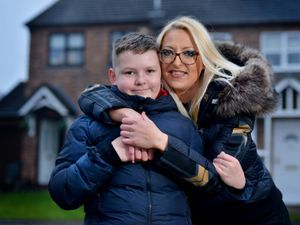 Schoolboy Dean Lemire is back at home in Telford with his mother Clair Chetwood after being stranded in France
