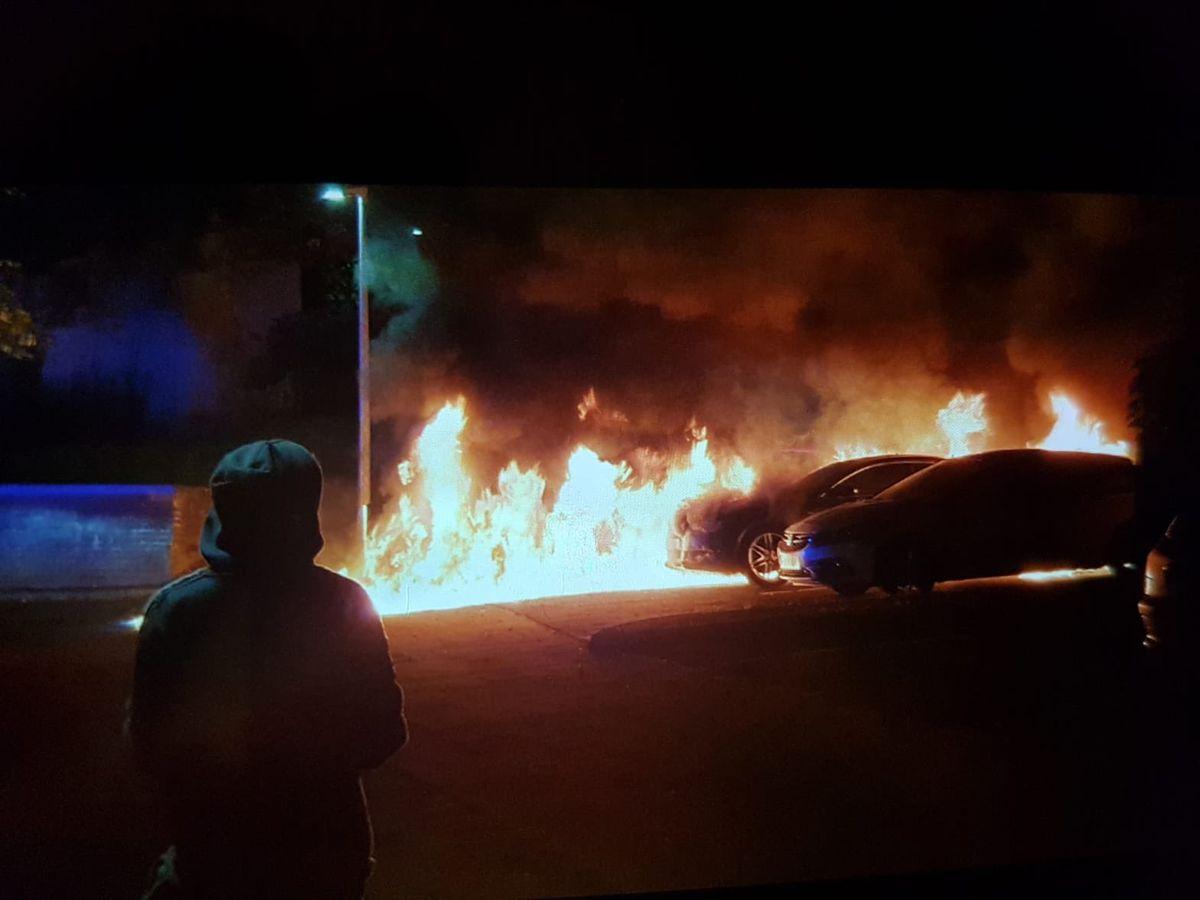 Cars ablaze in Brookside
